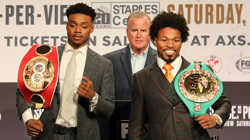 "IBF welterweight champion Errol Spence Jr. called out WBC champion Shawn Porter's fighting style at Wednesday's press conference in Los Angeles while ""Showtime"" ripped Spence for being unable to knock out Mikey Garcia."