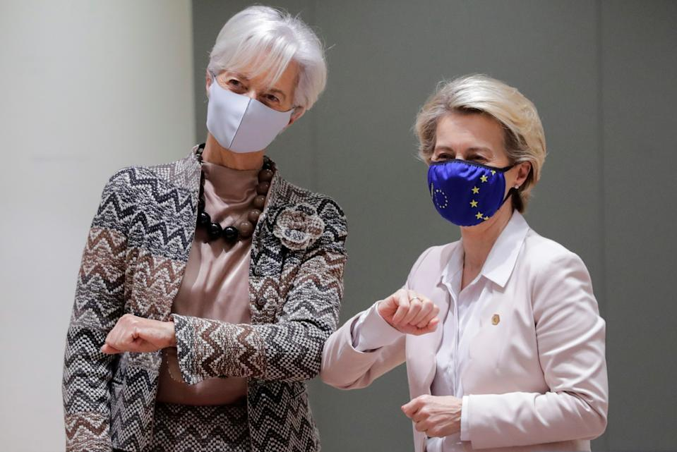 European Central Bank (ECB) President Christine Lagarde and European Commission President Ursula von der Leyen take part in a face-to-face EU summit amid the coronavirus disease (COVID-19) lockdown in Brussels, Belgium December 11, 2020. Olivier Hoslet/Pool via REUTERS