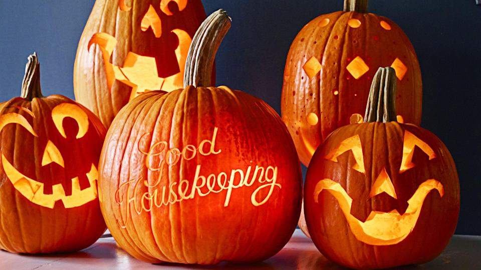 """<p>When it comes to Halloween activities, there's nothing like making time for <a href=""""https://www.goodhousekeeping.com/holidays/halloween-ideas/a22196/pumpkin-carving-tips/"""" rel=""""nofollow noopener"""" target=""""_blank"""" data-ylk=""""slk:pumpkin carving"""" class=""""link rapid-noclick-resp"""">pumpkin carving</a>. It's a fun family activity to get into the Halloween spirit and a great way to express your creativity, regardless of your age. And the best part is there's no shortage of pumpkin carving ideas. You can try scary looks (think zombies and witches) or more playful arrangements that call for everything from candy corn to faux flowers. Plus, if you want to keep it really simple, you can settle for <a href=""""https://www.goodhousekeeping.com/holidays/halloween-ideas/g23570028/pumpkin-faces/"""" rel=""""nofollow noopener"""" target=""""_blank"""" data-ylk=""""slk:carving out some fun faces"""" class=""""link rapid-noclick-resp"""">carving out some fun faces</a>. The choice is yours!</p><p>Any one of these easy pumpkin carving ideas are perfect for dressing up your mantel, <a href=""""https://www.goodhousekeeping.com/home/gardening/tips/g1404/fall-porch-decor/"""" rel=""""nofollow noopener"""" target=""""_blank"""" data-ylk=""""slk:front porch"""" class=""""link rapid-noclick-resp"""">front porch</a> or dinner table for a memorable Halloween bash. Just be sure to monitor any young pumpkin carvers who will be joining the festivities. Ready to get started? Grab your pumpkin carving set and add to the fun by putting on your go-to <a href=""""https://www.goodhousekeeping.com/holidays/halloween-ideas/g29579568/classic-halloween-movies/"""" rel=""""nofollow noopener"""" target=""""_blank"""" data-ylk=""""slk:Halloween movie"""" class=""""link rapid-noclick-resp"""">Halloween movie</a>. </p>"""