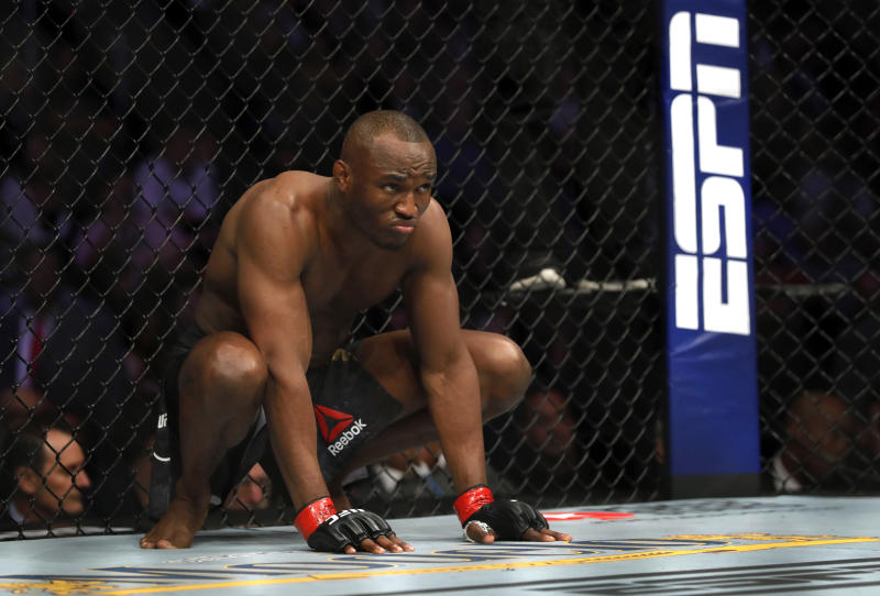 LAS VEGAS, NEVADA - DECEMBER 14: UFC welterweight champion Kamaru Usman prepares for his title defense against Colby Covington during UFC 245 at T-Mobile Arena on December 14, 2019 in Las Vegas, Nevada. Usman retained his title with a fifth-round TKO. (Photo by Steve Marcus/Getty Images)