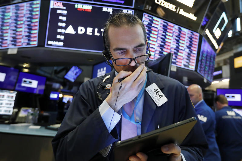 Trader Gregory Rowe works on the floor of the New York Stock Exchange, Thursday, May 23, 2019. Stocks are falling at the open on Wall Street as investors worry about an apparent stalemate in trade talks between the U.S. and China. (AP Photo/Richard Drew)