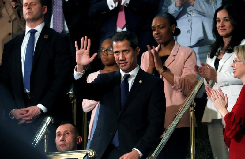 President of the National Assembly of Venezuela Juan Guaido Juan Guaido (C) waves as US President Donald Trump delivers his State of the Union address to a joint session of the US Congress in the House chamber of the US Capitol in Washington, DC, USA. EFE/LEAH MILLIS /