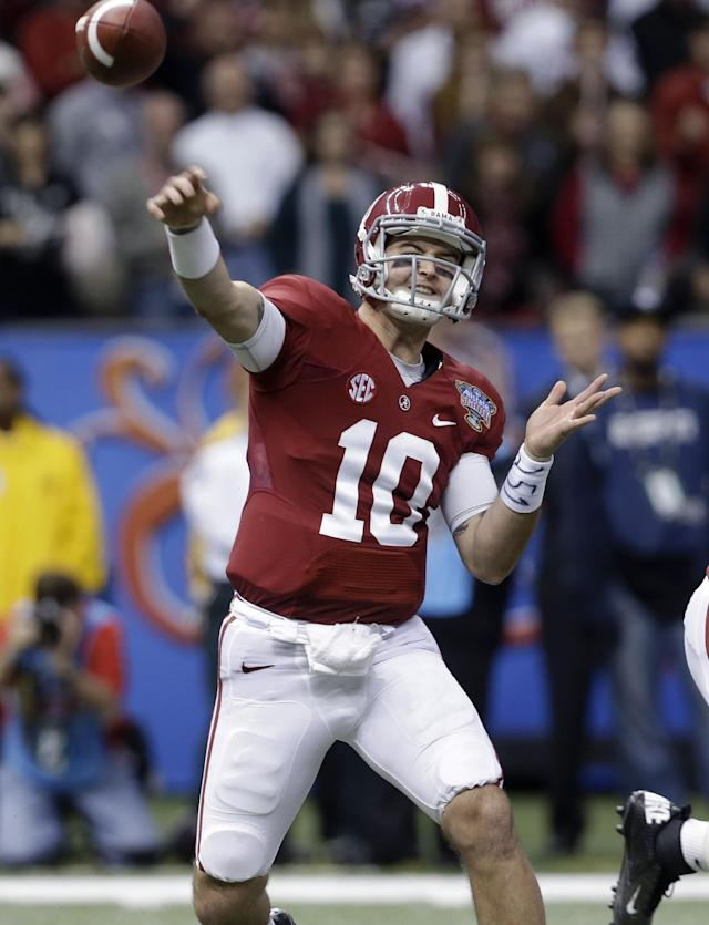 Alabama quarterback AJ McCarron throws during the second half of the NCAA college football Sugar Bowl against Oklahoma in New Orleans, Thursday, Jan. 2, 2014. (AP Photo/Rusty Costanza)