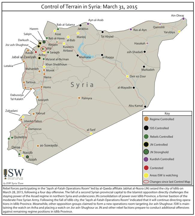 Syria Control Map Mar 31 2015