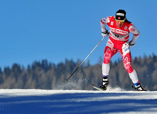 Canada's Devon Kershaw competes during the qualifications of the1,3 km Sprint men's event of the FIS World Cup Tour De Ski on January 5, 2011 in Toblach-Dobbiaco. AFP PHOTO / ALBERTO PIZZOLI (Photo credit should read ALBERTO PIZZOLI/AFP/Getty Images)