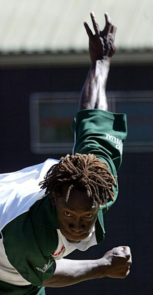 Zimbabwe's Henry Olonga is pictured during his playing days in March 2003 (AFP Photo/ALEXANDER JOE)