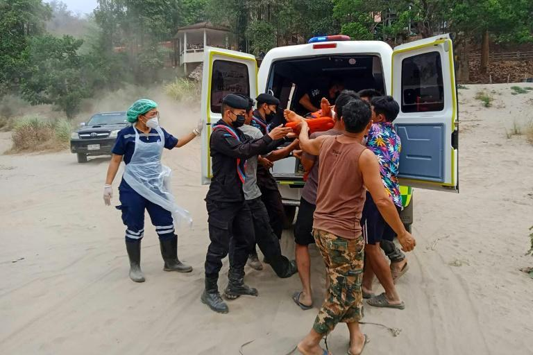 Around 3,000 people fled Myanmar through the jungle to seek safety across the border in Thailand after weekend strikes