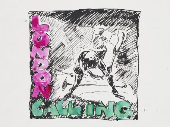 A 1979 preliminary sketch by Ray Lowry for the 'London Calling' album art, on display at the Museum of London (Samuel Lowry)