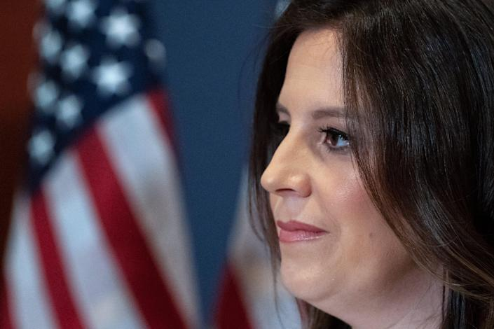 <p>File image: Elise Stefanik replaced Liz Cheney in the No 3 position in the House Republican caucus last month</p> (AP)