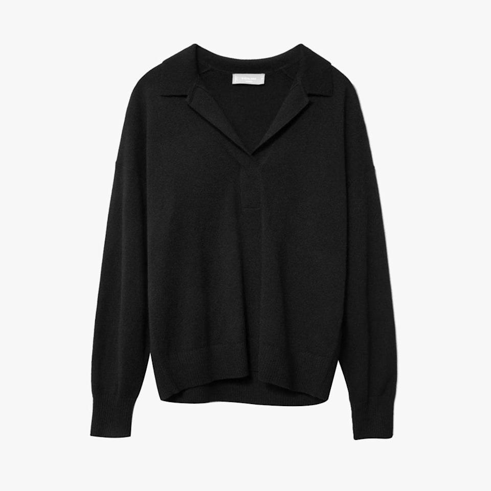 """$128, EVERLANE. <a href=""""https://www.everlane.com/products/womens-cashmere-ls-polo-black?collection=womens-sweaters"""" rel=""""nofollow noopener"""" target=""""_blank"""" data-ylk=""""slk:Get it now!"""" class=""""link rapid-noclick-resp"""">Get it now!</a>"""