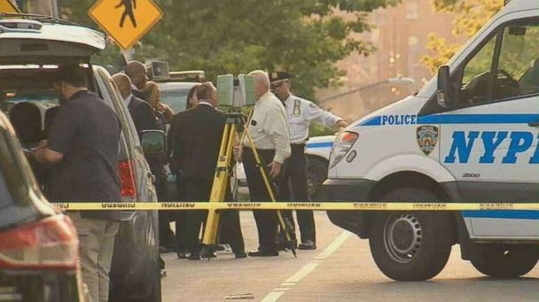 Police investigate where on Friday, the 8th. August, south of the Crotona Park in the Bronx, New York, two pieces of human remains were found. 24, 2018. (WABC)