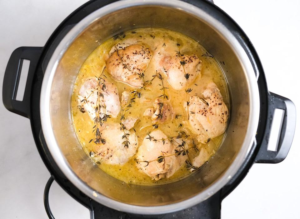 cooked lemon chicken inside an Instant Pot