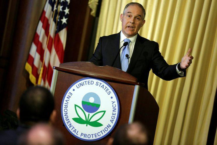 Scott Pruitt, administrator of the Environmental Protection Agency, speaks on Tuesday to employees of the agency in Washington. (Photo: Joshua Roberts/Reuters)