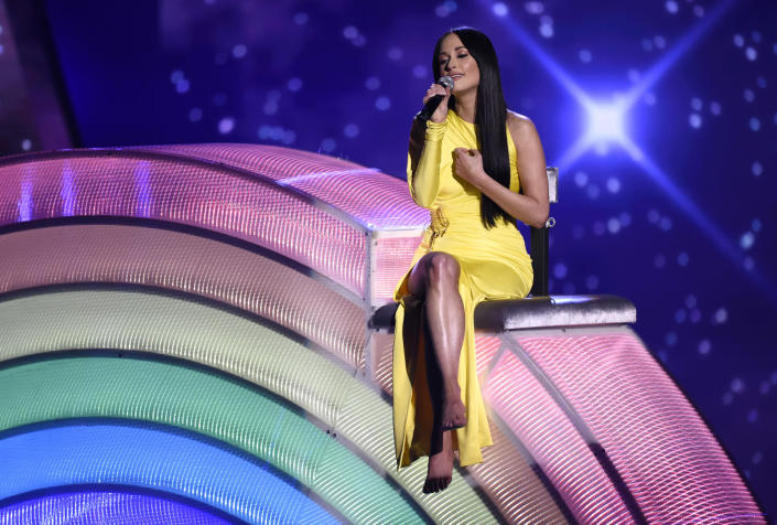 """Kacey Musgraves performs """"Rainbow"""" at the iHeartRadio Music Awards in Los Angeles on March 14, 2019. (Photo by Chris Pizzello/Invision/AP)"""