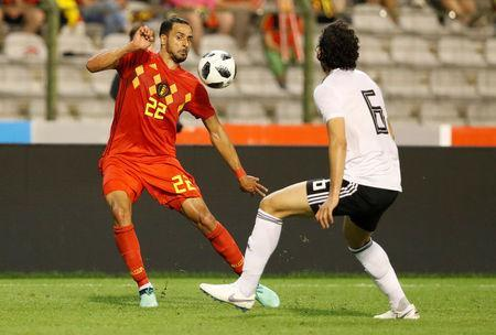 Soccer Football - International Friendly - Belgium vs Egypt - King Baudouin Stadium, Brussels, Belgium - June 6, 2018 Belgium's Nacer Chadli in action with Egypt's Ahmed Hegazi REUTERS/Francois Lenoir
