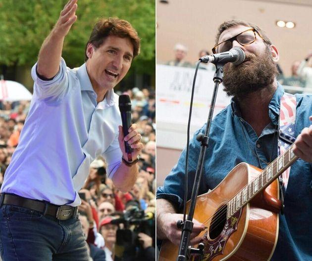 Liberal Leader Justin Trudeau, left, is using a song by Canadian band The Strumbellas for his campaign. Lead singer Simon Ward is pictured at right.