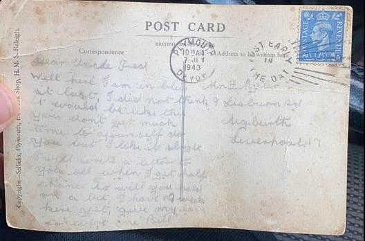 Bill Caldwell's postcard finally arrived home after he sent it in 1943. (SWNS)