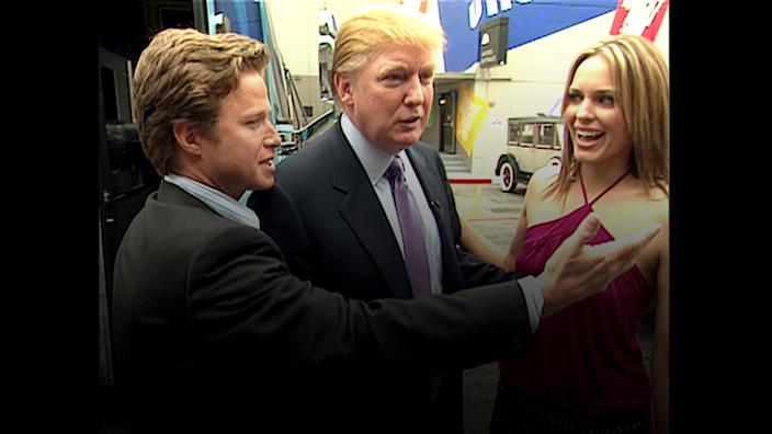 In this 2005 frame from video, Donald Trump (center)prepares for an appearance on 'Days of Our Lives' with actress Arianne Zucker (right). He is accompanied to the set by Access Hollywood host Billy Bush (left). (Obtained by The Washington Post via Getty Images)