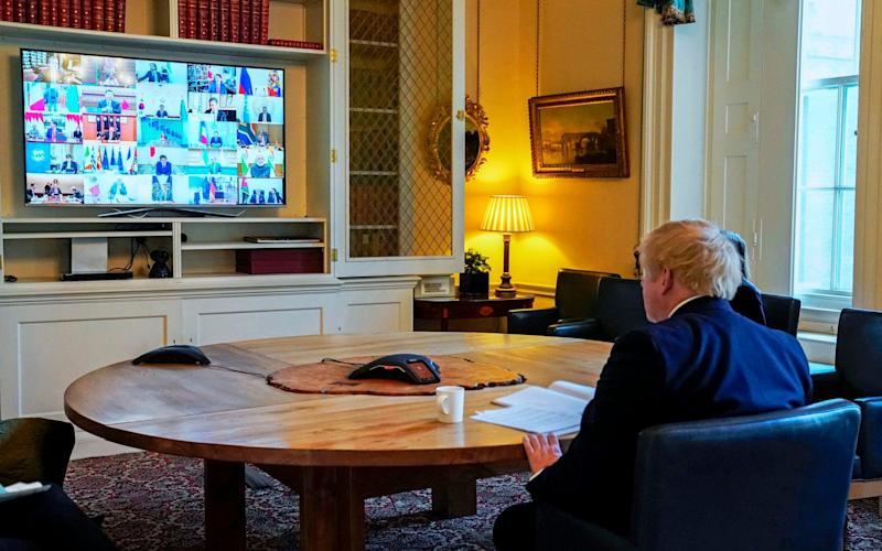 The Prime Minister attending a Zoom cabinet meeting last month - PA