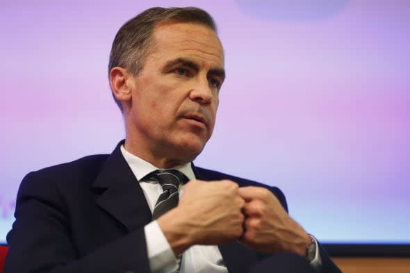 Bank of England Governor Mark Carney, speaks to the audience after delivering his speech