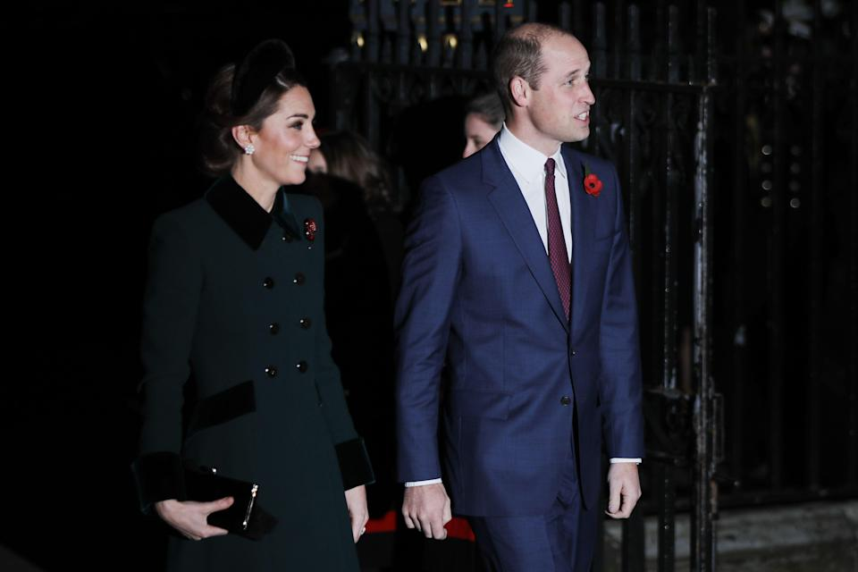 Kate and William at the service (Getty)