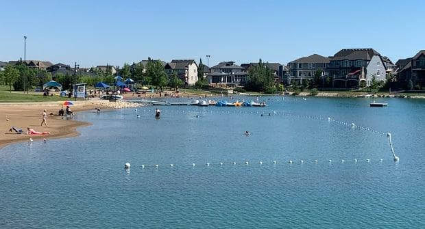 People sunbathe and swim in Mahogany Lake in southeast Calgary on Tuesday. On Monday, a girl jumped off the dock of the main beach but did not resurface. She was later found by rescue divers and taken to the hospital in critical condition. (Mike Symington/CBC - image credit)