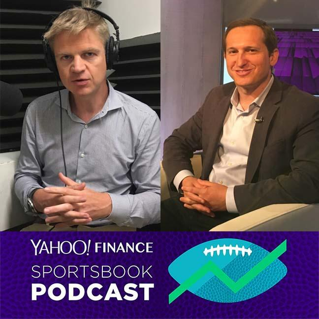 FanDuel CEO Nigel Eccles (L) and DraftKings CEO Jason Robins are the guests on Episode 4 of the Yahoo Finance Sportsbook podcast.