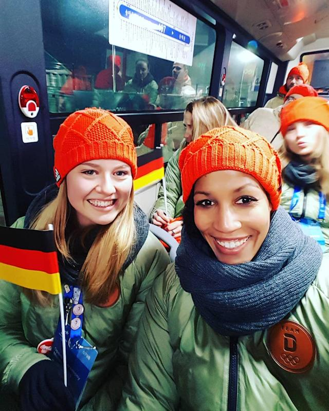 <p>mari_j_jam: On the way to the opening ceremony with @anni_strack ! Looking good @steffi.schneider90 (Photo via Instagram/mari_j_jam) </p>