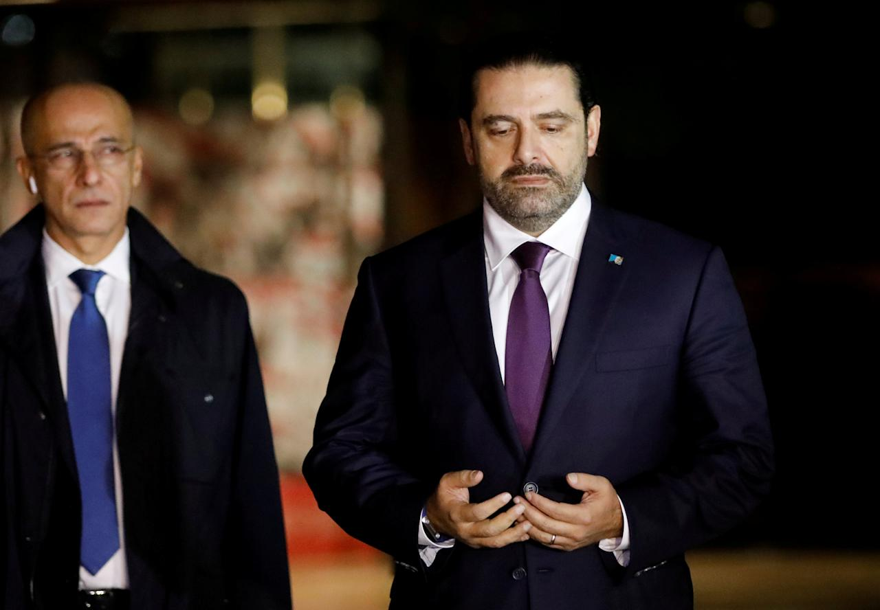 Saad al-Hariri, who announced his resignation as Lebanon's prime minister from Saudi Arabia, is seen at the grave of his father, assassinated former Lebanese prime minister Rafik al-Hariri, in downtown Beirut November 21, 2017.REUTERS/Jamal Saidi     TPX IMAGES OF THE DAY