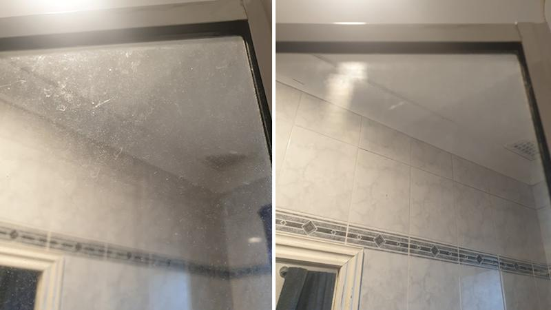 shower cleaning hack before and after