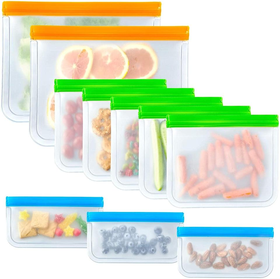 <p>Store leftovers or meal prep with the <span>10 Pack Food Grade Leakproof Slicone &amp; Plastic Free Reusable Storage Bags</span> ($10). This set comes with two large bags, five sandwich bags, and three snack bags. </p>