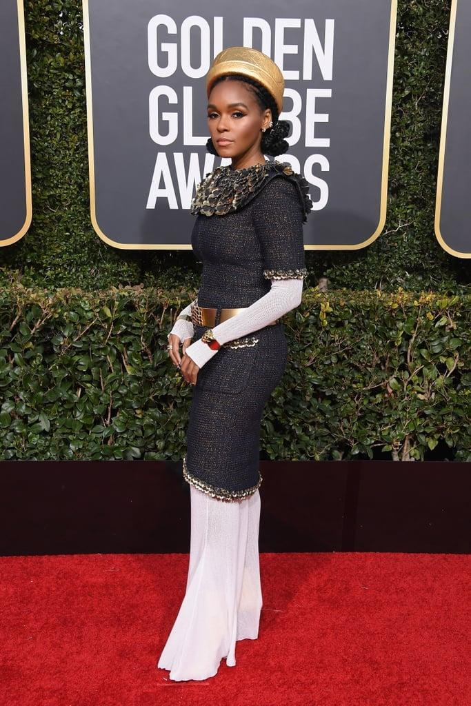 <p>Wearing a Chanel look with Le Silla shoes at the 2019 Golden Globes.</p>