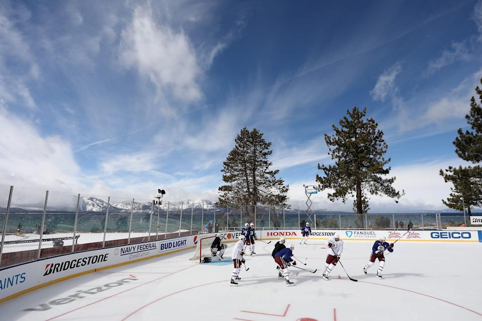 The Colorado Avalanche practice Friday at the rink at the Edgewood Tahoe Resort.