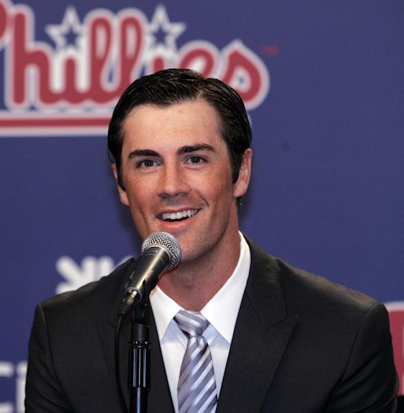 Philadelphia Phillies pitcher Cole Hamelsanswers a question during news conference Wednesday, July 25, 2012, in Philadelphia. Hamels and the Phillies have agreed to a $144 million, six-year contract that prevents the 2008 World Series MVP from becoming a free agent after the season. (AP Photo/Tom Mihalek)