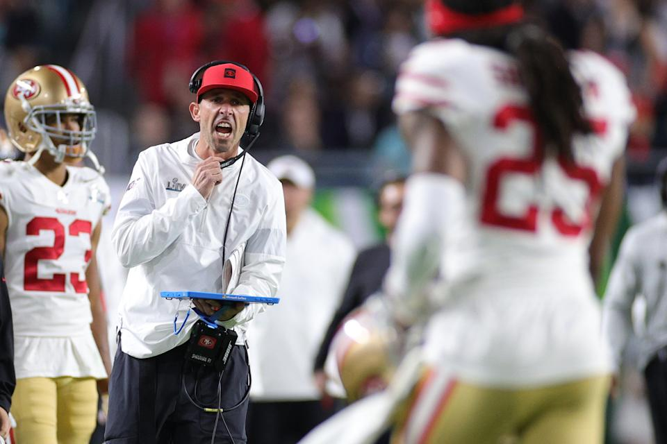49ers coach Kyle Shanahan talked about his two Super Bowl losses. (Photo by Maddie Meyer/Getty Images)