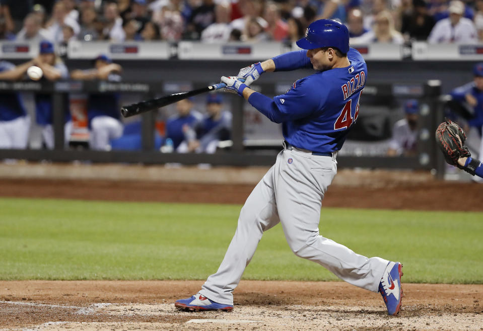 Chicago Cubs' Anthony Rizzo drives in a run against the New York Mets, while his teammates struggled to do the same. (AP Photo)