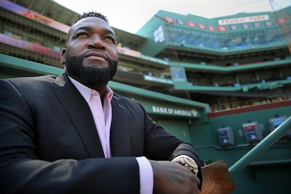 Red Sox legend David Ortiz reveals he tested positive for COVID-19 and his brother spent a week in the hospital battling the virus. (Photo by Craig F. Walker/The Boston Globe via Getty Images)