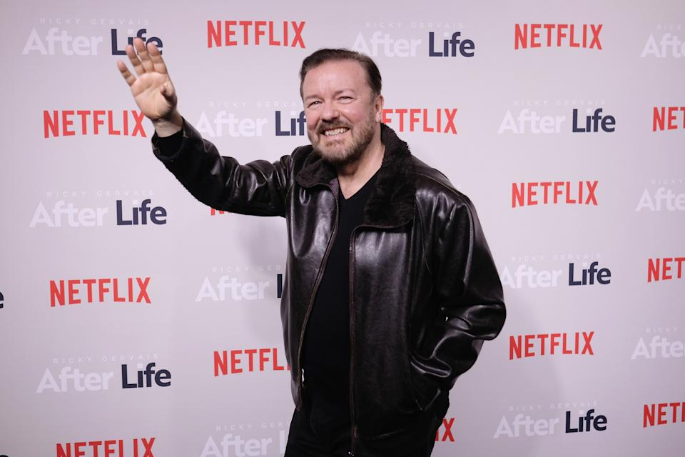 """NEW YORK, NEW YORK - MARCH 07: Comedian Ricky Gervais attends the """"After Life"""" For Your Consideration Event at Paley Center For Media on March 07, 2019 in New York City. (Photo by Nicholas Hunt/Getty Images)"""