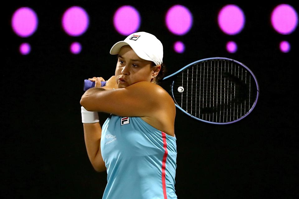 Ash Barty rips a backhand during the Volvo Car Open at LTP Daniel Island Tennis Center.