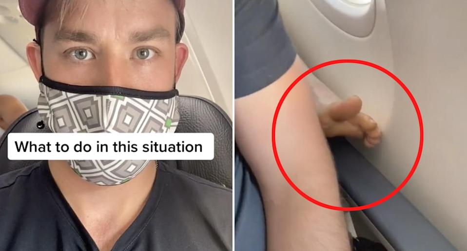 A man sits on a plane as a passenger seated behind him puts their bare feet up on the foot rest.