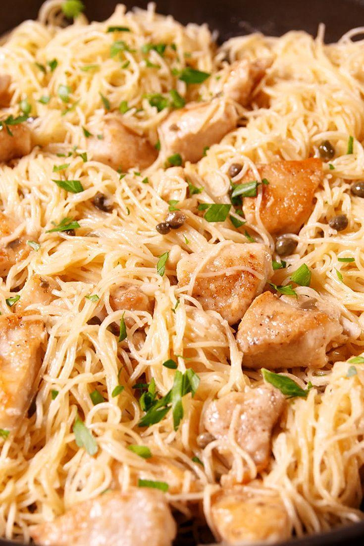 """<p>You'll love the lemony butter sauce on this killer chicken pasta.</p><p>Get the recipe from <a href=""""https://www.delish.com/cooking/recipe-ideas/recipes/a49300/chicken-piccata-pasta-recipe/"""" rel=""""nofollow noopener"""" target=""""_blank"""" data-ylk=""""slk:Delish"""" class=""""link rapid-noclick-resp"""">Delish</a>.</p>"""