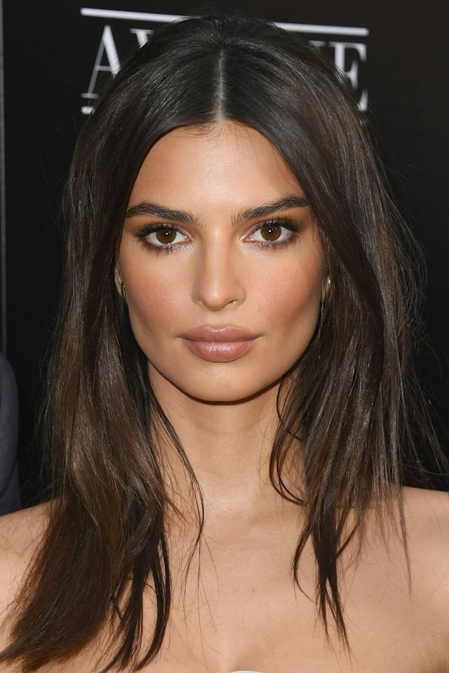 "<p>The secret to achieving perfectly sculptured cheekbones like Emily Ratajkowski is to layer your contouring products with blusher, as this will give a softer-looking finish. Use Charlotte Tilbury's <a rel=""nofollow"" href=""https://www.houseoffraser.co.uk/beauty/charlotte-tilbury-filmstar-bronze-and-glow/d711680.pd?gclid=CjwKCAjwzoDXBRBbEiwAGZRIeIXA95Qe8dN1IlyCrgup4JBueqAlKPdCf-qCzWbnVLtOM56hB4q-KhoC26wQAvD_BwE#250266519&cm_mmc=Googlebase-_-Beauty-_-Makeup-_-Filmstar+Bronze+and+Glow&tmcampid=7&tmad=c&tmplaceref=Charlotte+Tilbury&tmclickref=Charlotte+Tilbury+Filmstar+Bronze+and+Glow&_$ja=tsid:96381
