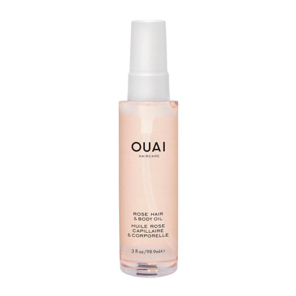"""This smells like a bouquet of fresh roses and can be used on both your hair and body. I love that it comes in a plastic spray bottle and is multi-use, so it's perfect to toss in a travel bag or purse. While I find it super lightweight on my body, I like to use it only on the ends of my hair, otherwise it can feel a little weighed down. $32, Ouai. <a href=""""https://shop-links.co/1726934146423818570"""" rel=""""nofollow noopener"""" target=""""_blank"""" data-ylk=""""slk:Get it now!"""" class=""""link rapid-noclick-resp"""">Get it now!</a>"""