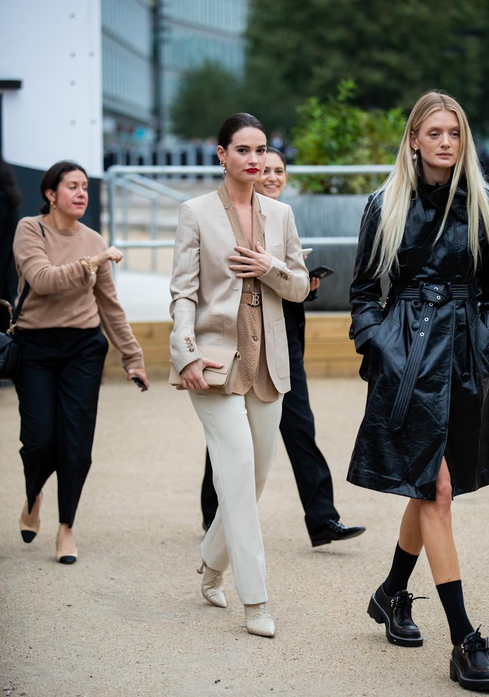 Lily James arriving at Burberry's SS20 show. [Photo: Getty Images]