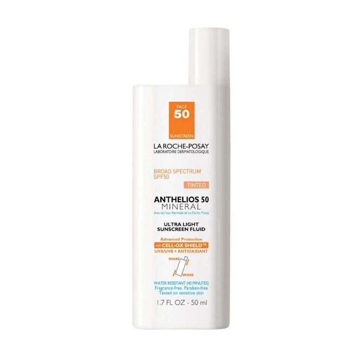 """&ldquo;I&rsquo;m too lazy to put on makeup, so this evens things out a little and is also a mineral sunscreen, so I can put it around my eyes, because the chemical sunscreen burns and burns.&rdquo; <i>― Lisa Yeung, managing editor of lifestyle and perspectives at HuffPost Canada<br><br></i><strong>Get the <a href=""""https://www.target.com/p/la-roche-posay-anthelios-50-mineral-ultra-light-spf-50-face-sunscreen-1-7-fl-oz/-/A-14225598"""" rel=""""nofollow noopener"""" target=""""_blank"""" data-ylk=""""slk:La Roche-Posay Anthelios 50 mineral ultra light tinted sunscreen fluid"""" class=""""link rapid-noclick-resp"""">La Roche-Posay Anthelios 50 mineral ultra light tinted sunscreen fluid</a> for $33.99.</strong>"""