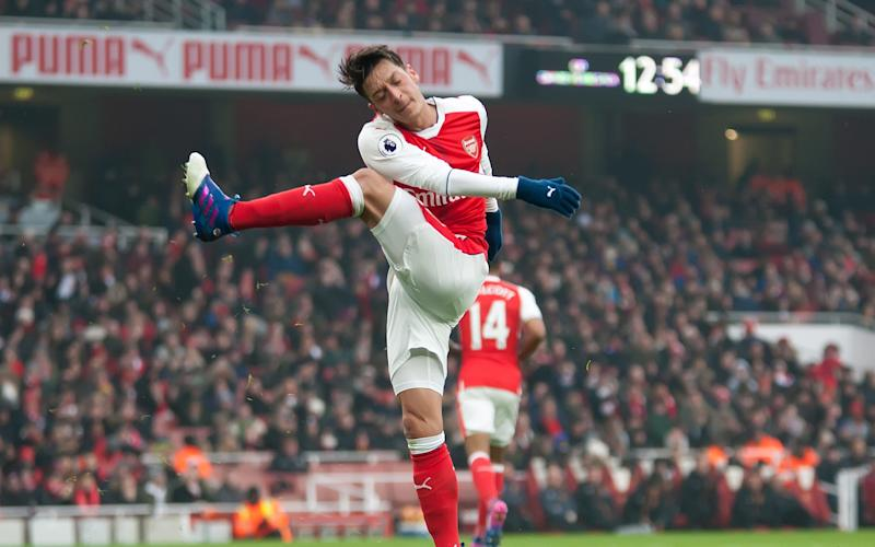 Mesut Ozil of Arsenal kicks the ground after missing a chance, English Premier League, Arsenal V Hull City, Emirates Stadium London, United Kingdom - Credit:  Greenwood/IPS/REX/Shutterstock