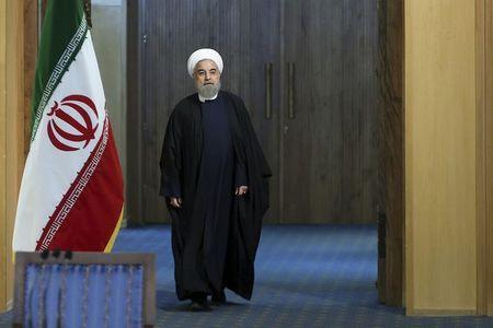 Iranian President Hassan Rouhani arrives for a news conference in Tehran, Iran January 17, 2016. REUTERS/President.ir/Handout