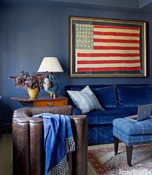 """<div class=""""caption-credit""""> Photo by: Ngoc Minh Ngo</div><div class=""""caption-title"""">Vintage Flag</div><p> In a Manhattan apartment decorated by Phoebe Howard, study walls painted Benjamin Moore's Newburyport Blue set off a striking Civil War-era flag from Jeff Bridgman Antiques. The sofa is covered in Rogers & Goffigon's Cervo; the ottoman is in Colefax and Fowler's Lanark Plaid. Leather Antwerp chair, Bobo Intriguing Objects. Throw, Alicia Adams Alpaca. </p> <p> <b>See more:</b> </p> <p> <a rel=""""nofollow noopener"""" href=""""http://www.housebeautiful.com/shopping/best/4th-of-july-entertaining-ideas?link=emb&dom=yah_life&src=syn&con=blog_housebeautiful&mag=hbu"""" target=""""_blank"""" data-ylk=""""slk:11 Chic Finds for 4th of July Party"""" class=""""link rapid-noclick-resp""""><b>11 Chic Finds for 4th of July Party</b></a> <br> <br> <a rel=""""nofollow noopener"""" href=""""http://www.housebeautiful.com/decorating/home-makeovers/summer-home-decorating-ideas?link=emb&dom=yah_life&src=syn&con=blog_housebeautiful&mag=hbu"""" target=""""_blank"""" data-ylk=""""slk:50+ Easy Summer Decorating Ideas"""" class=""""link rapid-noclick-resp""""><b>50+ Easy Summer Decorating Ideas</b></a> </p>"""