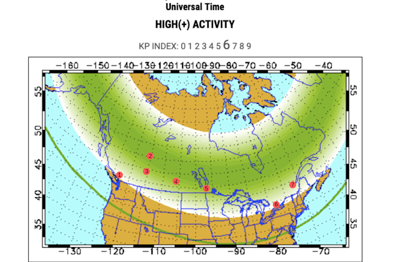 Northern Lights map of the G2 storm on September 1.