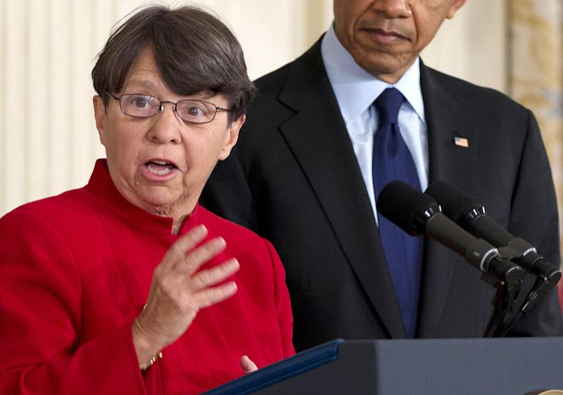 FILE - In this Thursday, Jan. 24, 2013, file photo, Mary Jo White speaks after  President Barack Obama announced in the State Dining Room of the White House that he will nominate White to lead the Security and Exchange Commission in Washington. On  Monday, April 8, 2013, the U.S. Senate confirmed Mary Jo White's nomination as chairman of the Securities and Exchange Commission, making her the first former prosecutor to lead the federal agency that oversees Wall Street. (AP Photo/Carolyn Kaster)